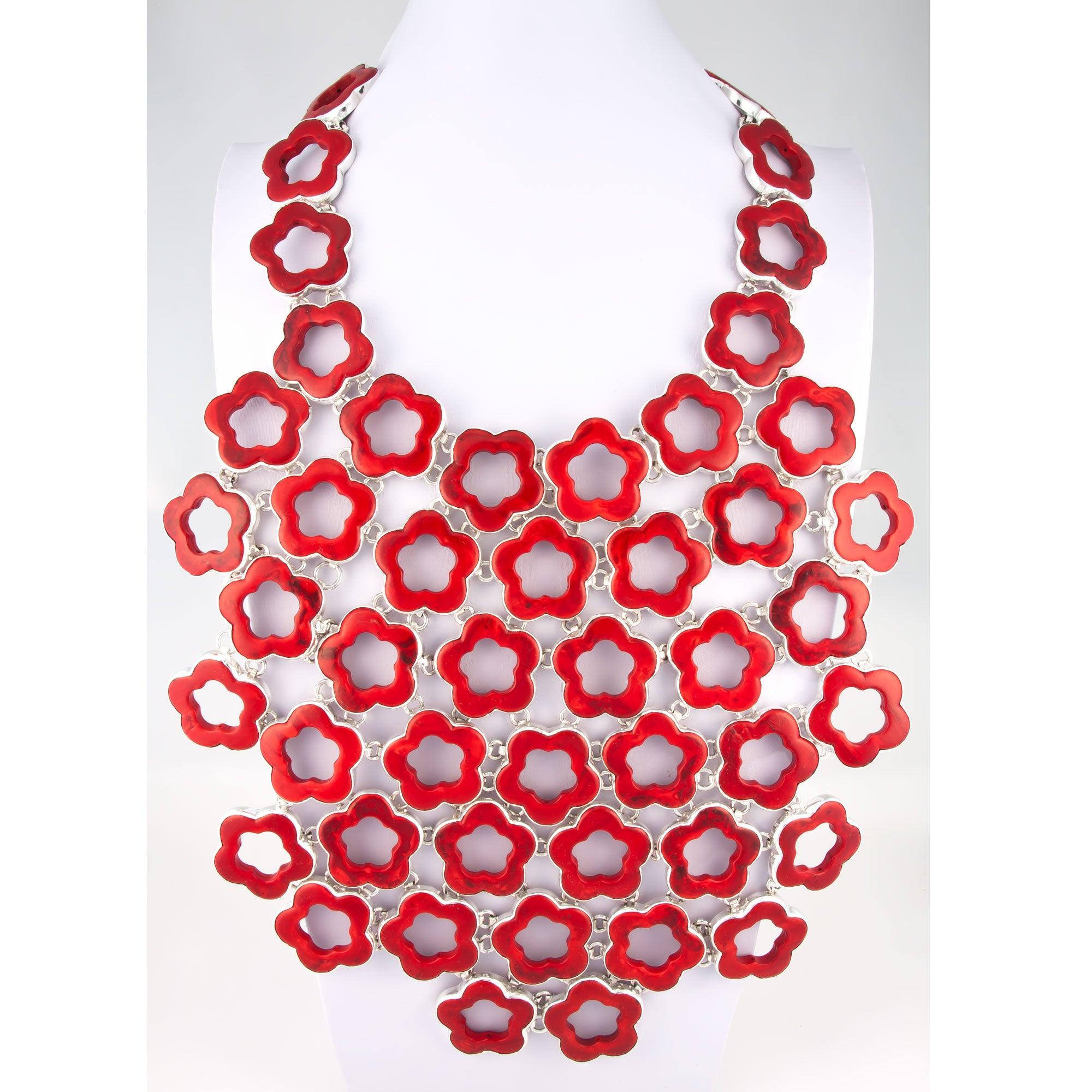 Sterling Silver Red Coral Flower Power Necklace | Charles Albert Jewelry