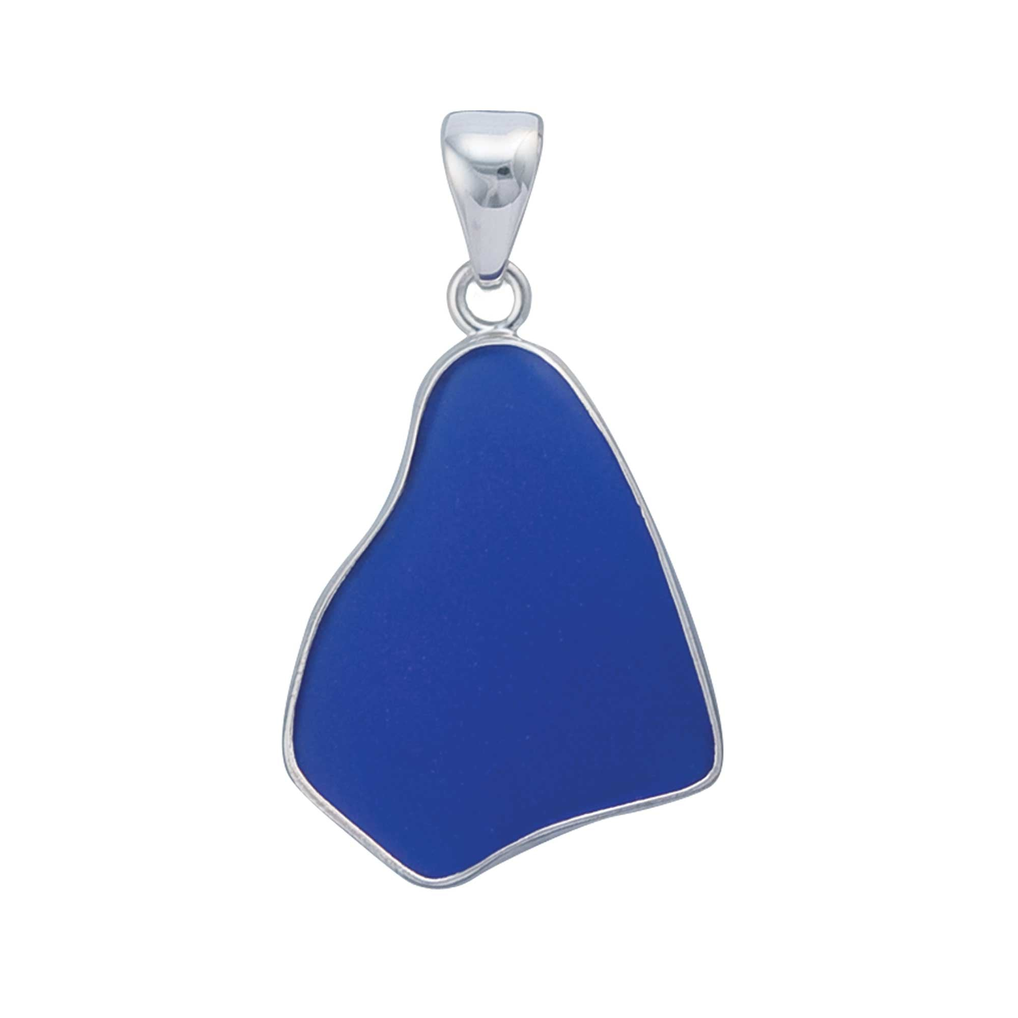 Sterling Silver Cobalt Blue Recycled Glass Pendant | Charles Albert Jewelry