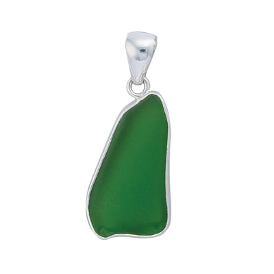 Sterling Silver Green Recycled Glass Pendant