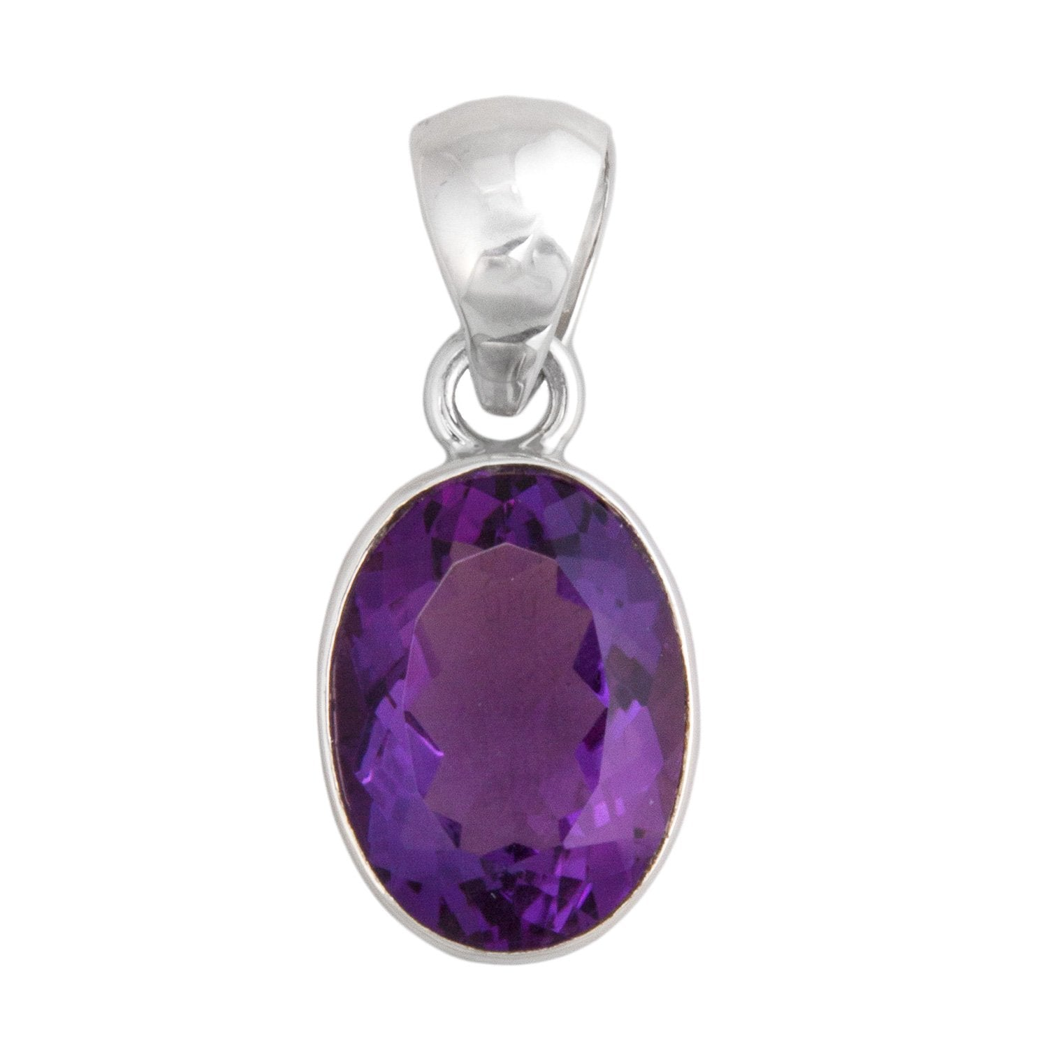 Sterling Silver Oval Amethyst Pendant