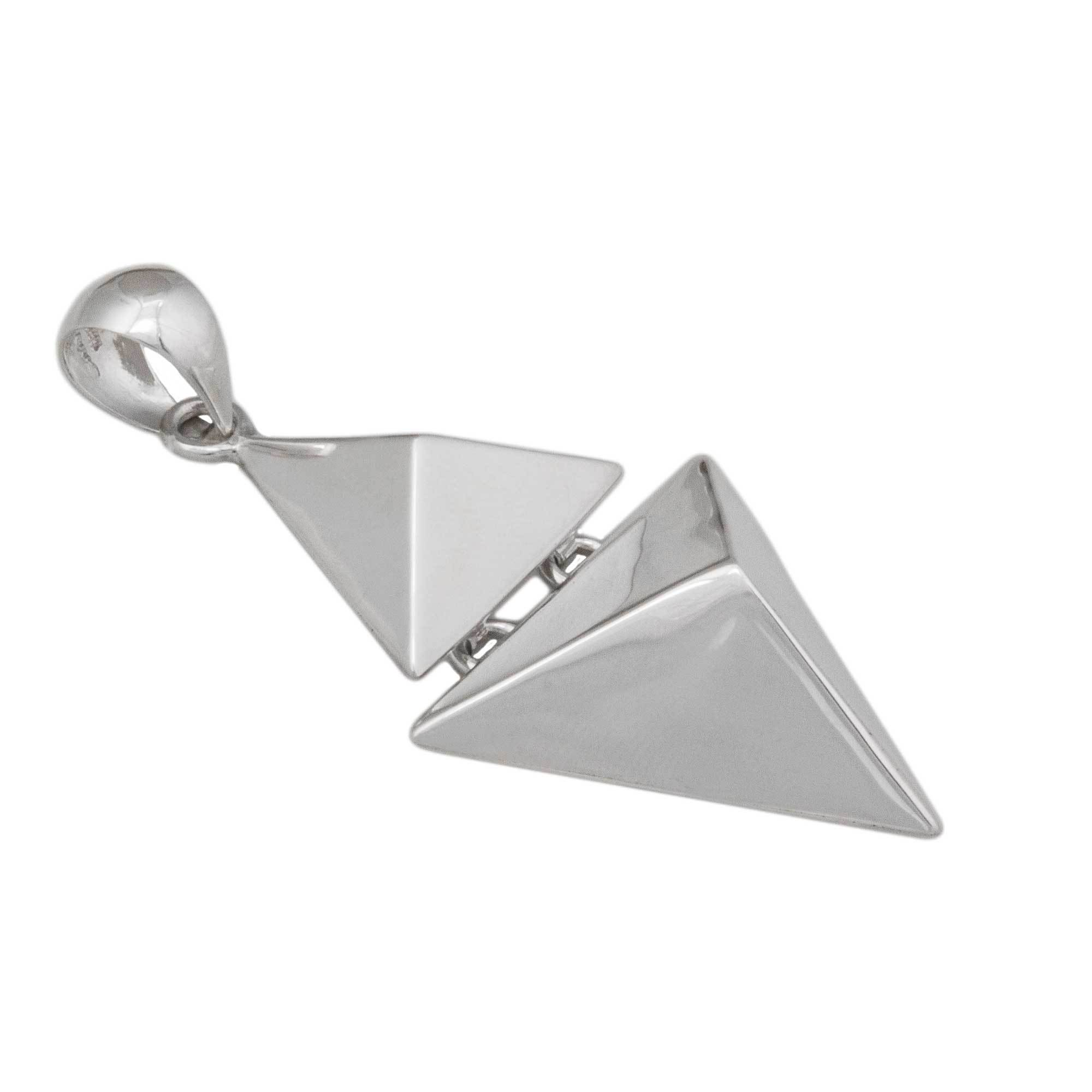 Sterling Silver Double Pyramid Pendant | Charles Albert Jewelry