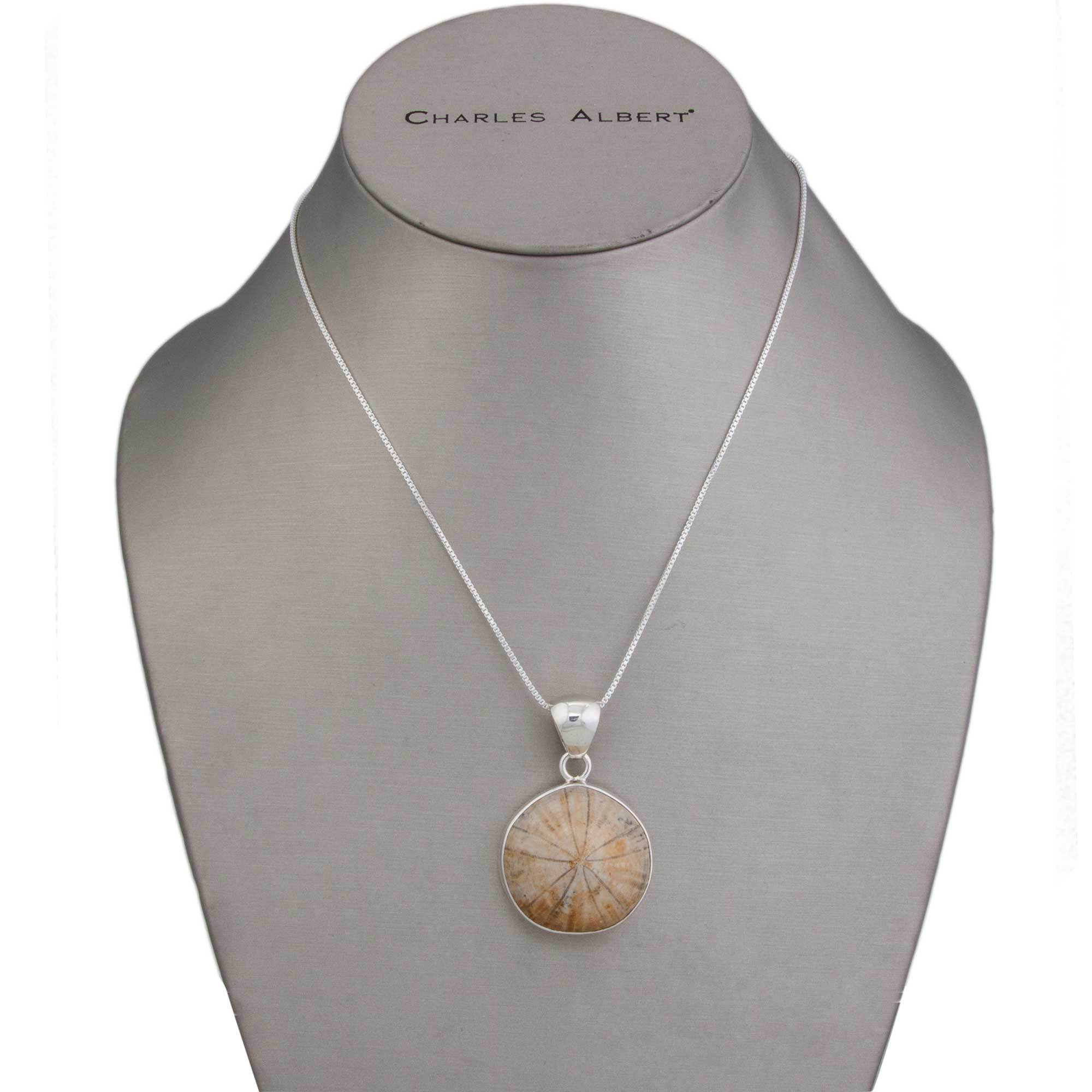 Sterling Silver Fossil Sand Dollar Pendant | Charles Albert Jewelry