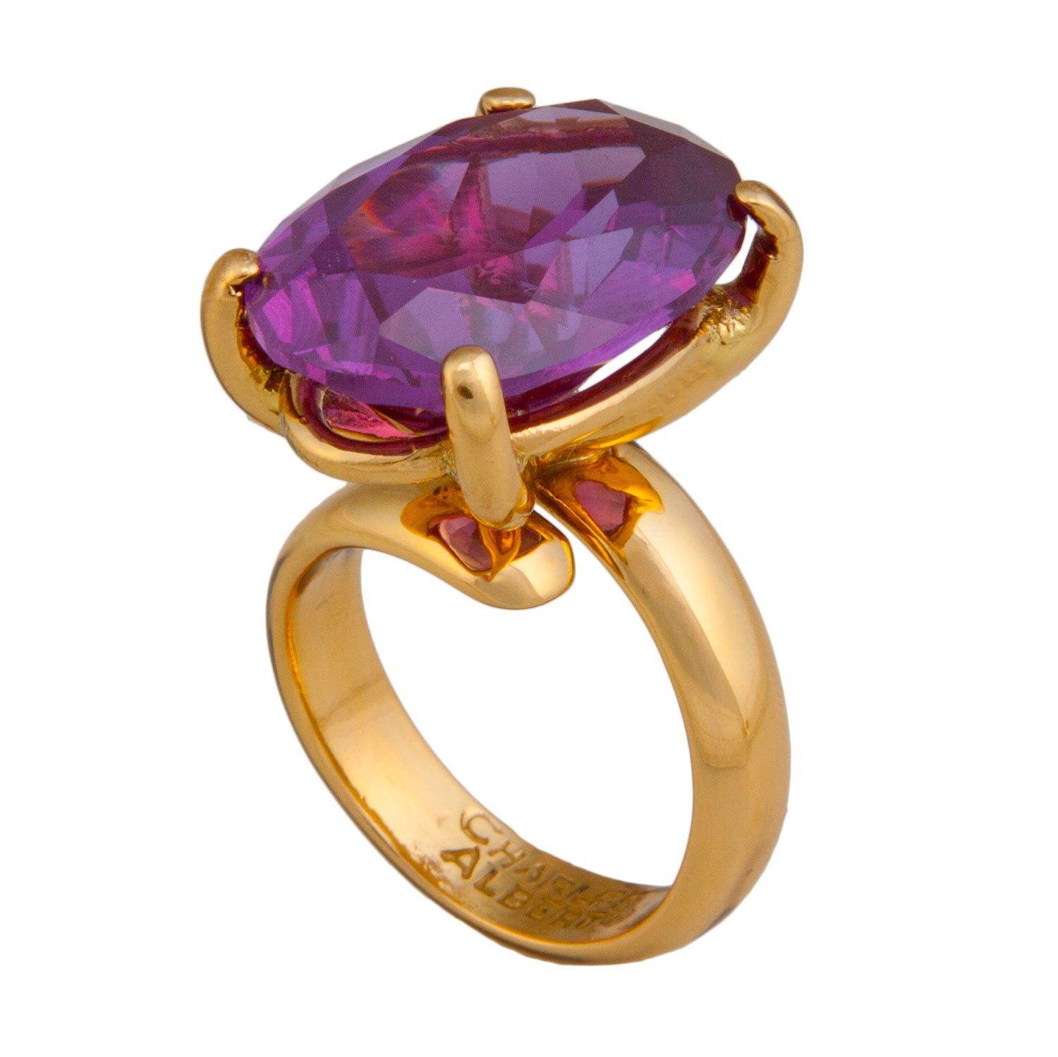 Alchemia Amethyst Prong Set Adjustable Ring