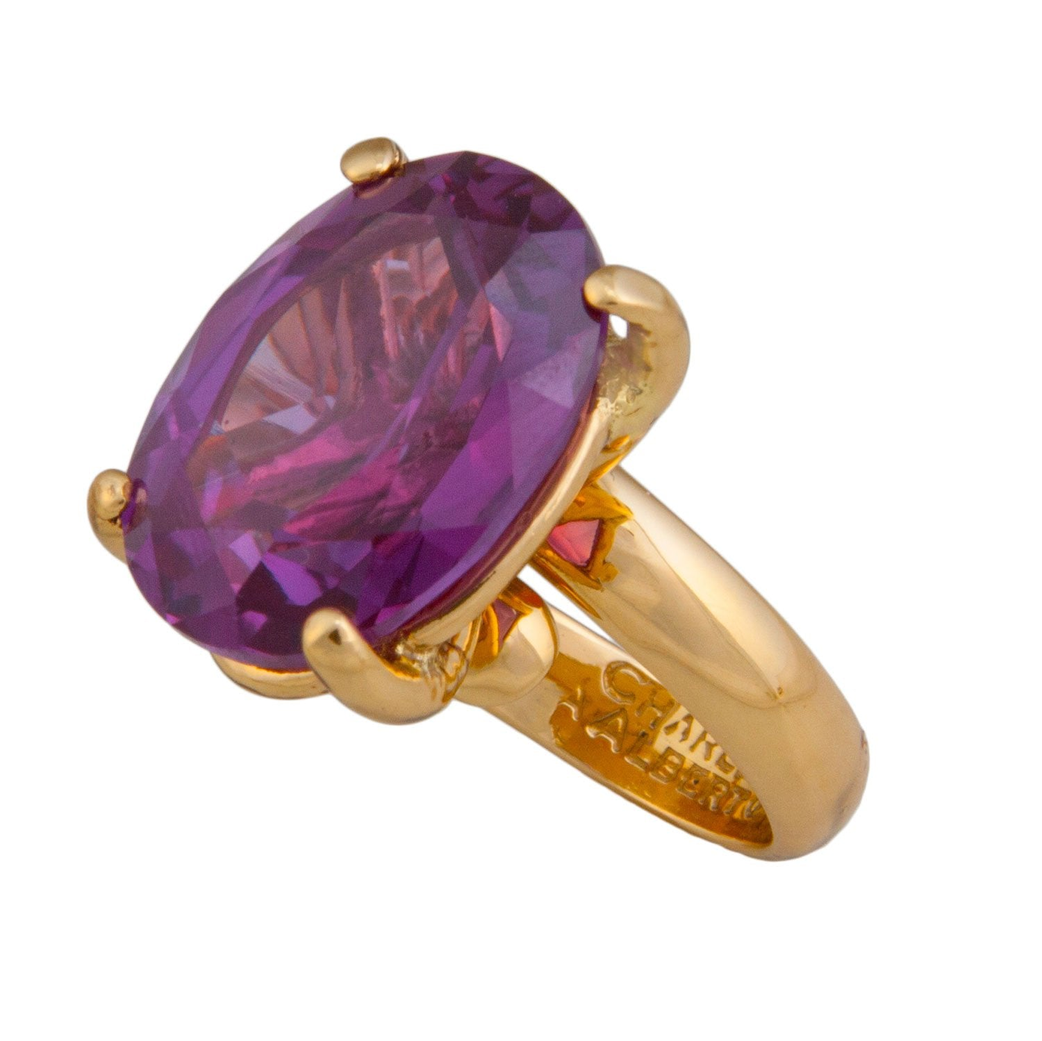 Alchemia Amethyst Prong Set Adjustable Ring | Charles Albert Jewelry