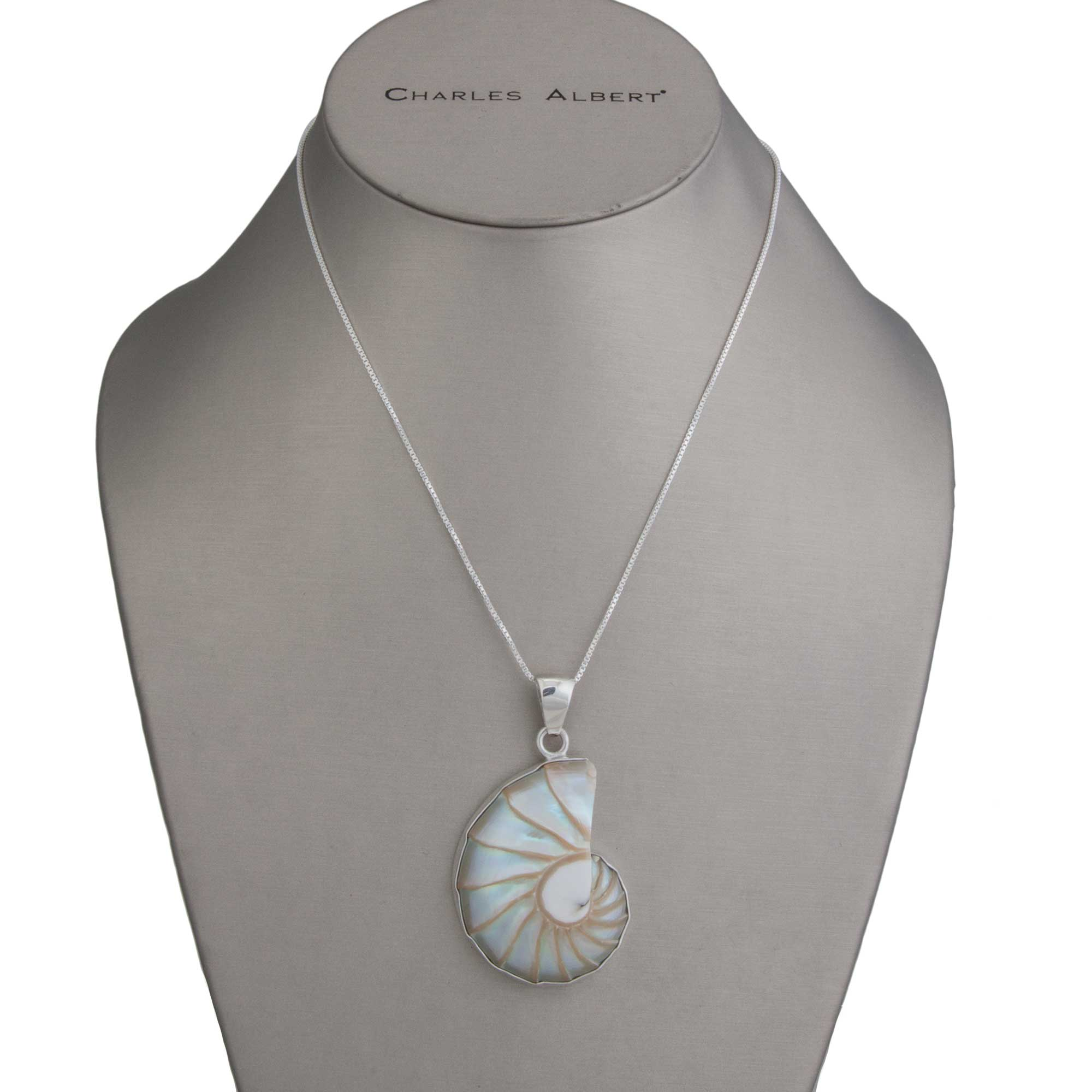 Sterling Silver Nautilus Shell Pendant | Charles Albert Jewelry