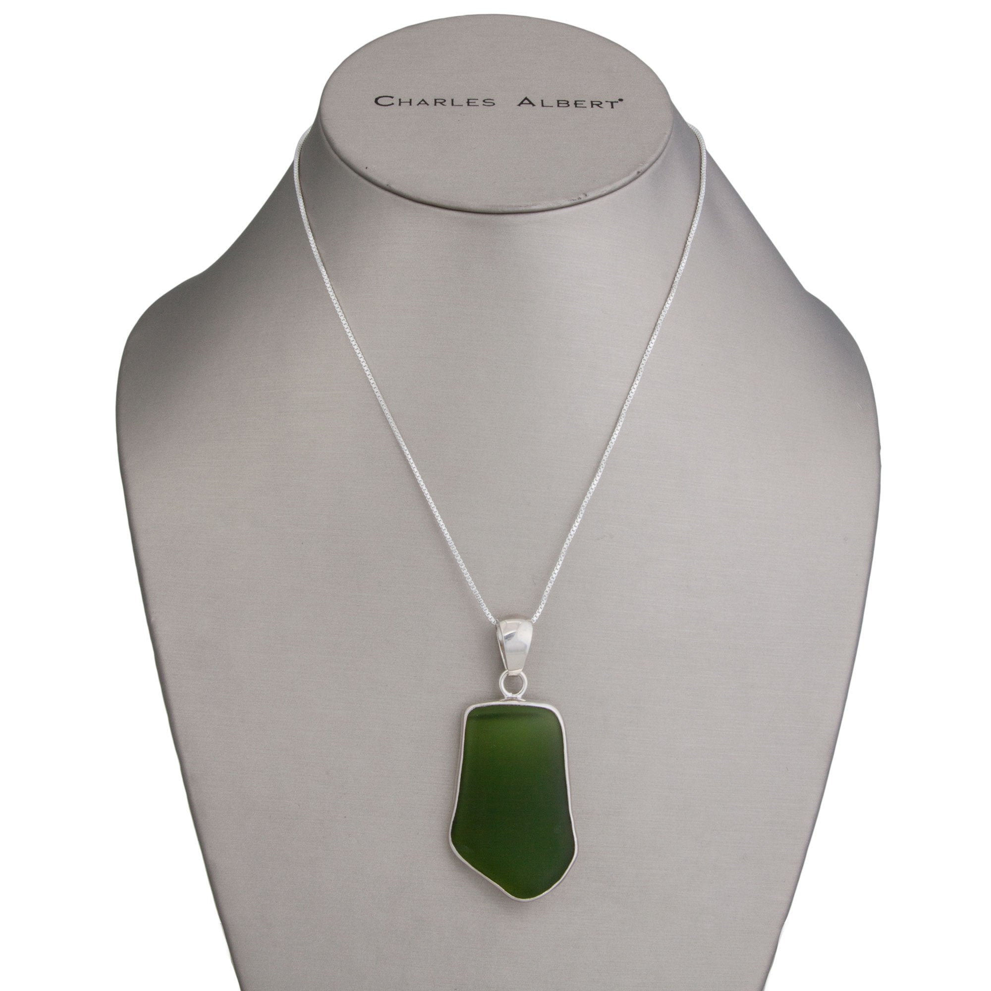 Sterling Silver Green Recycled Glass Pendant | Charles Albert Jewelry