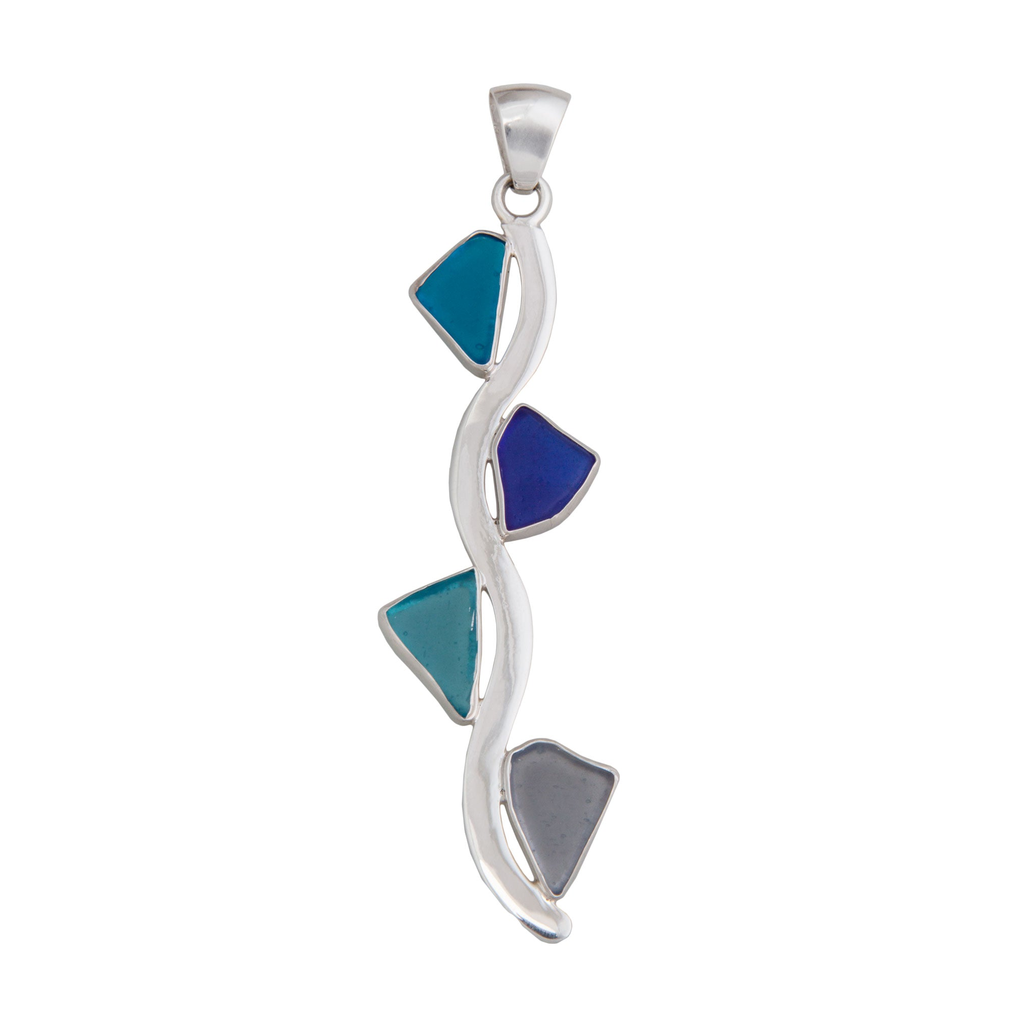 Sterling Silver Recycled Glass Wave Pendant | Charles Albert Jewelry