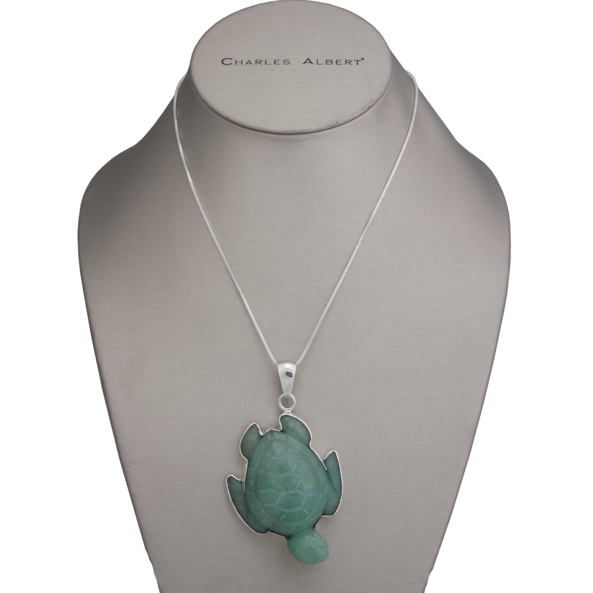 Sterling Silver Aventurine Sea Turtle Pendant | Charles Albert Jewelry