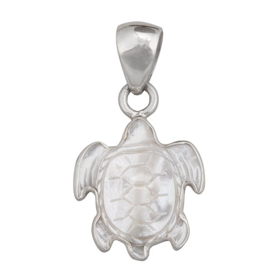 sterling-silver-mother-of-pearl-sea-turtle-pendant - 1 - Charles Albert Inc
