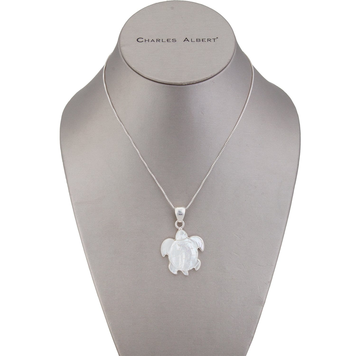 Sterling Silver Mother of Pearl Sea Turtle Pendant | Charles Albert Jewelry