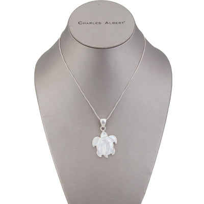 Sterling Silver Mother of Pearl Sea Turtle Pendant