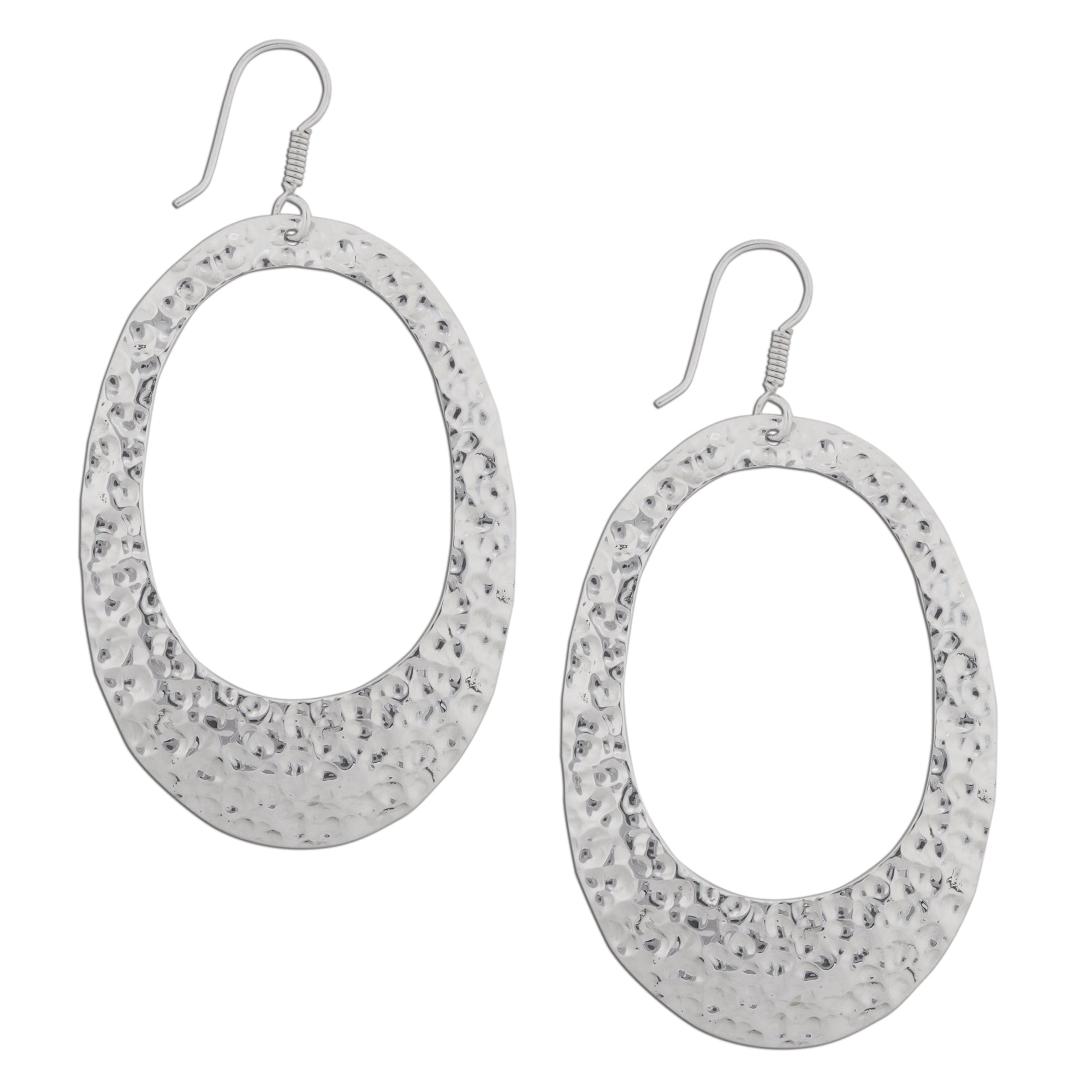 Sterling Silver Hammered Oval Earrings | Charles Albert Jewelry