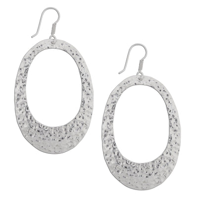 sterling-silver-hammered-oval-earrings - 1 - Charles Albert Inc