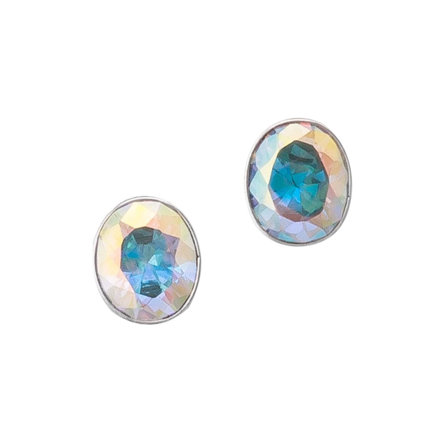 Sterling Silver Oval Mercury Mist CZ Clip Earrings | Charles Albert Jewelry