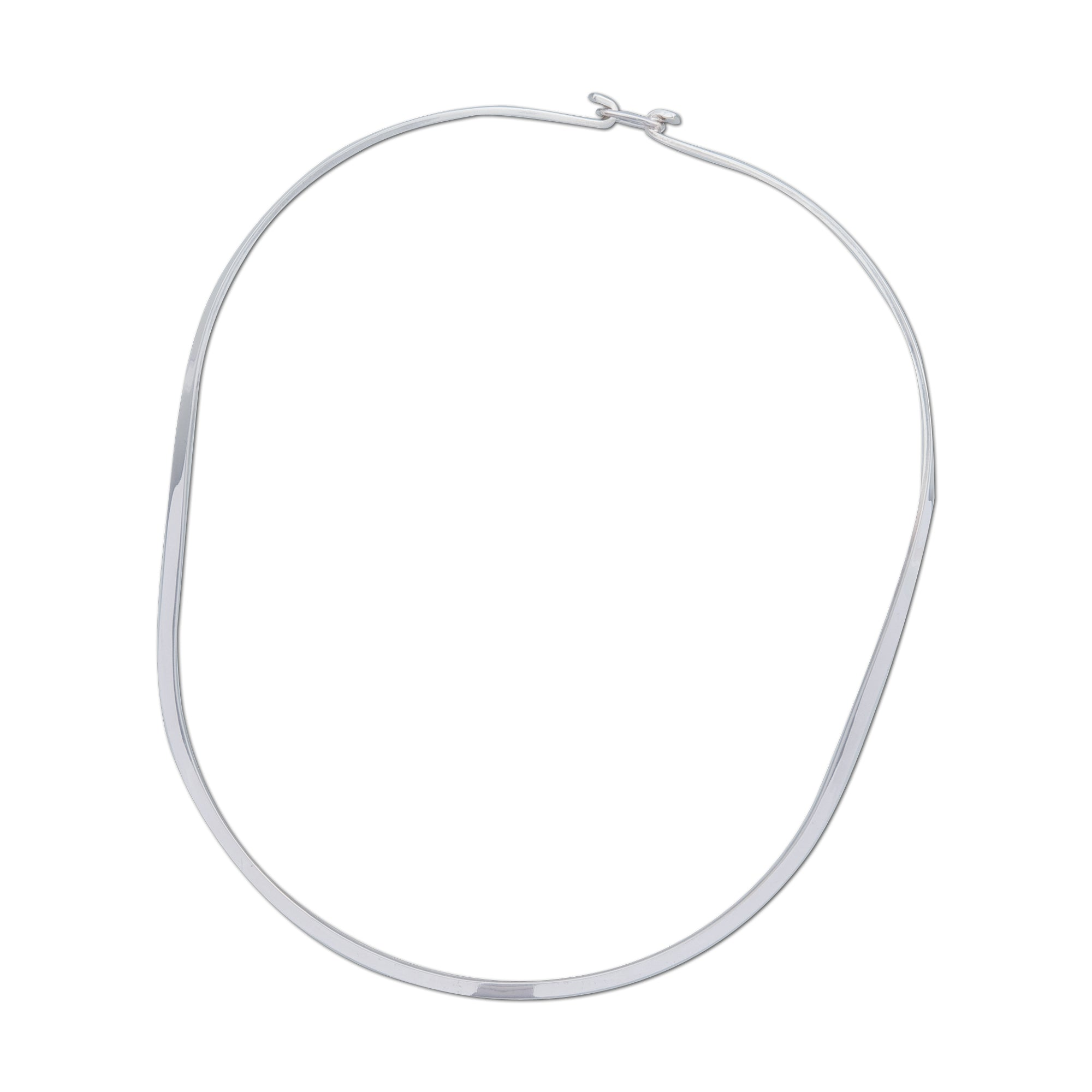 Sterling Silver Thin Oval Neckwire with Clasp | Charles Albert Jewelry