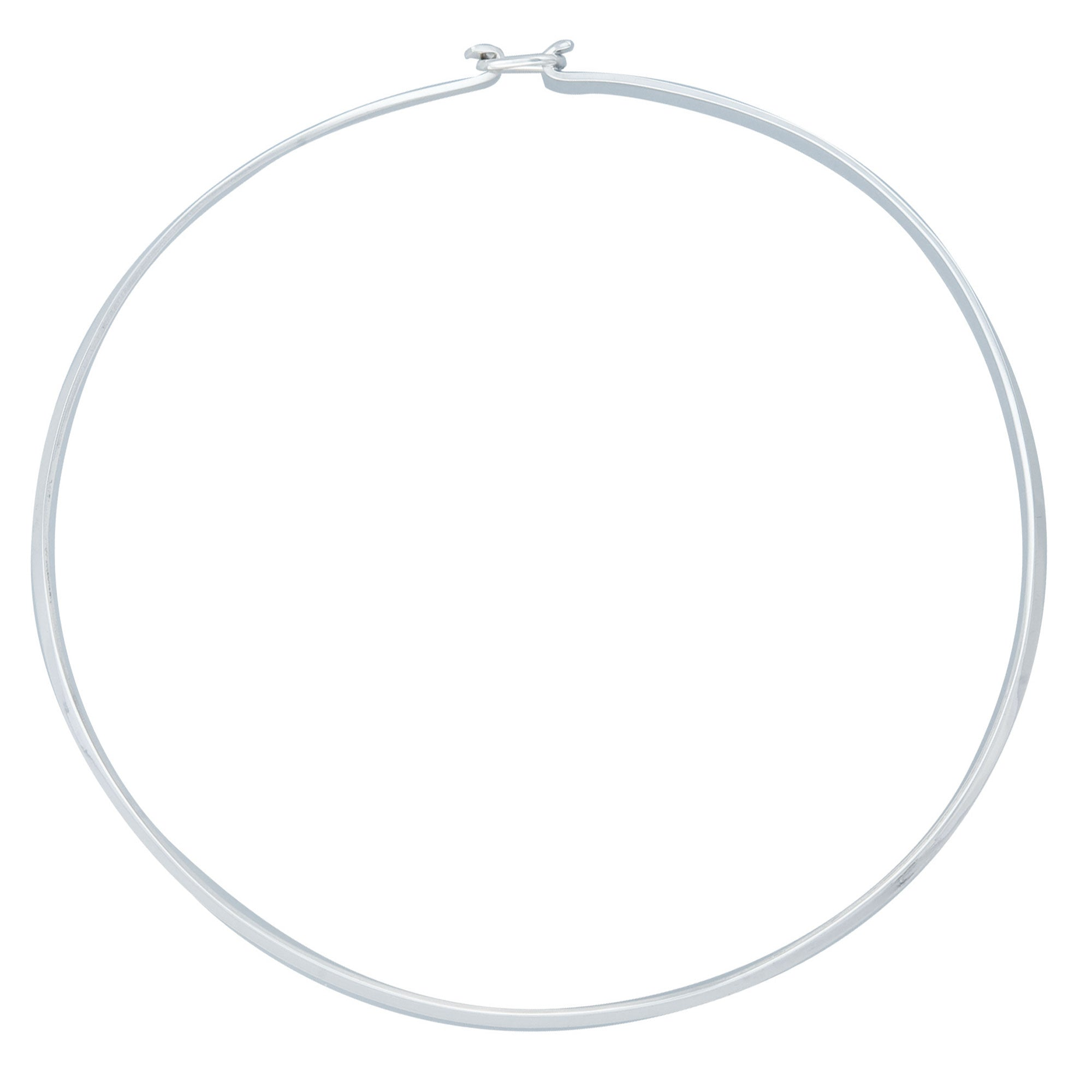 Sterling Silver Thin Round Neckwire with Clasp | Charles Albert Jewelry