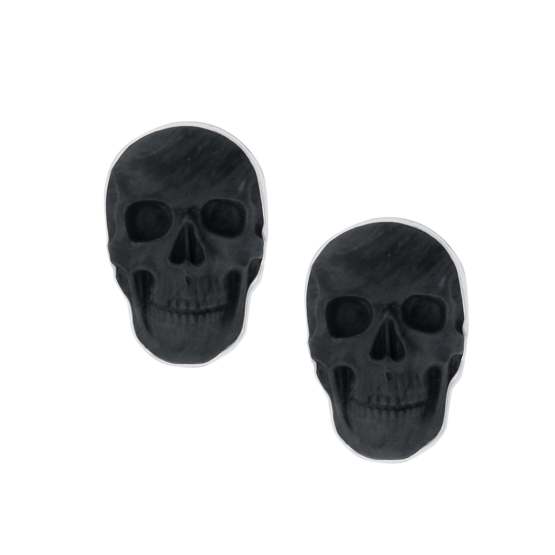 Sterling Silver Obsidian Skull Clip Earrings | Charles Albert Jewelry