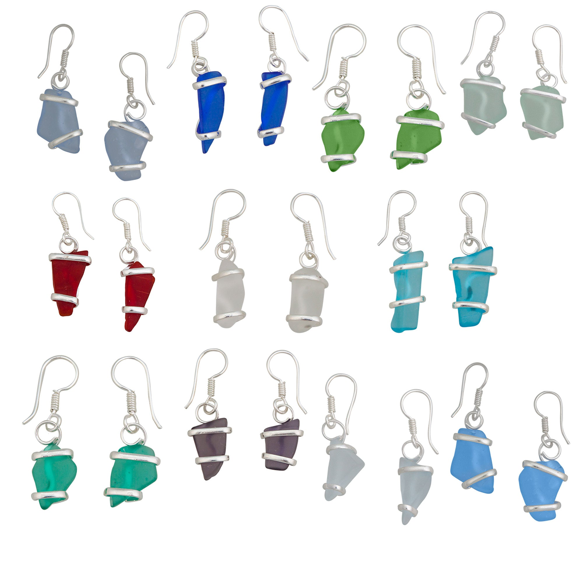 Assorted Dozen Alpaca Recycled Glass Freeform Earrings | Charles Albert Jewelry