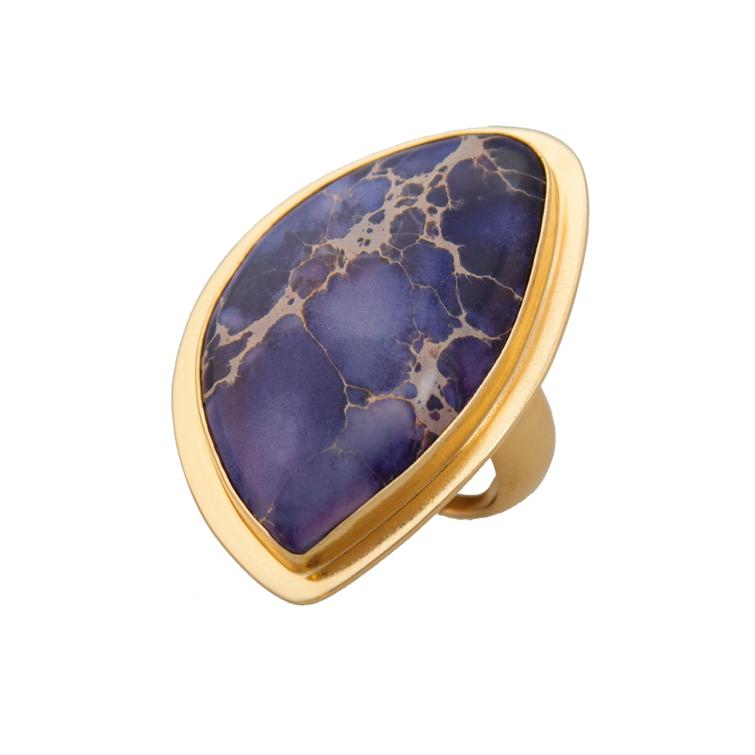 Alchemia Purple Jasper Adjustable Ring With Lip