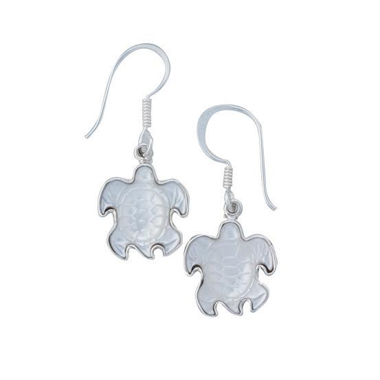 Sterling Silver Mother of Pearl Sea Turtle Drop Earrings