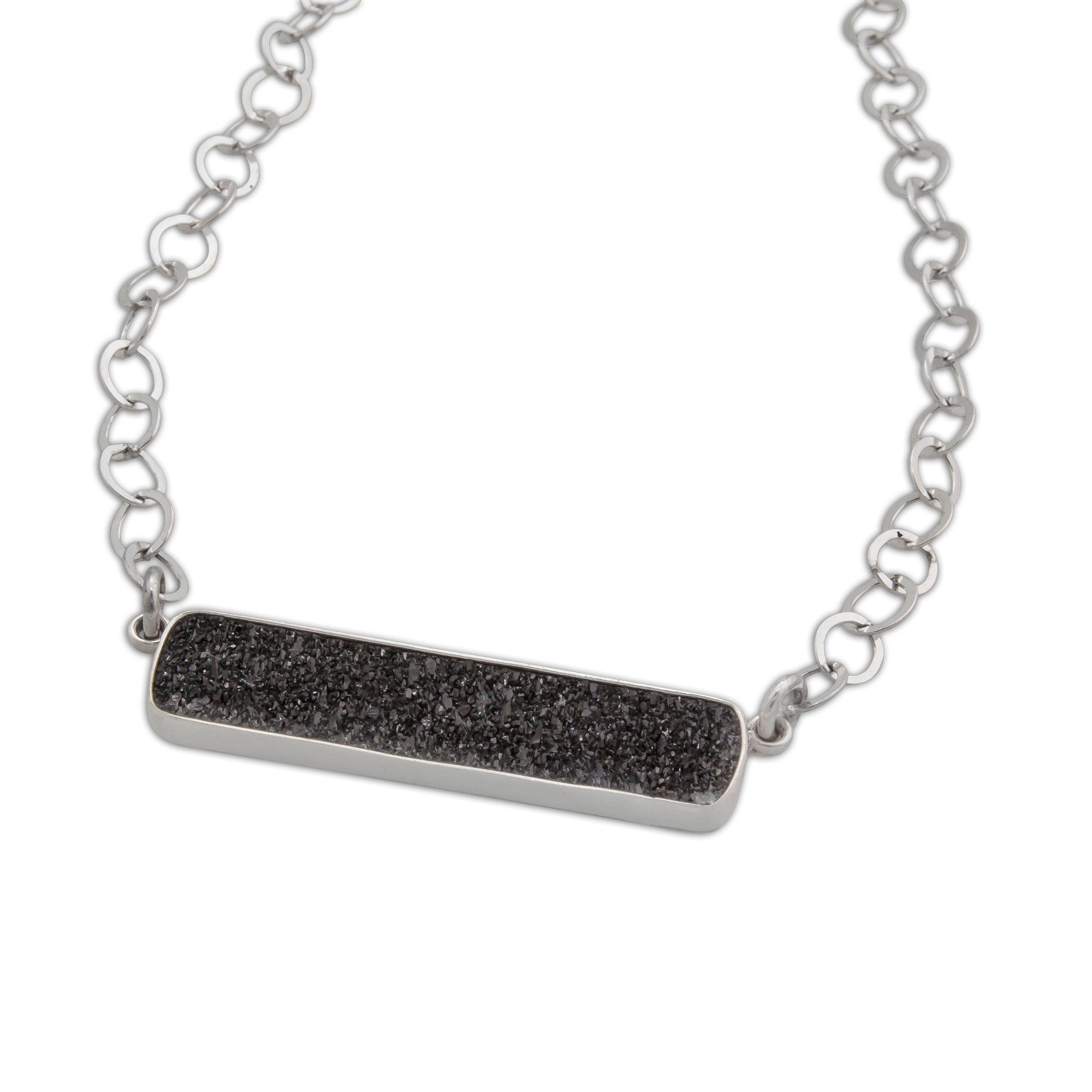 Sterling Silver Black Druse Necklace | Charles Albert Jewelry
