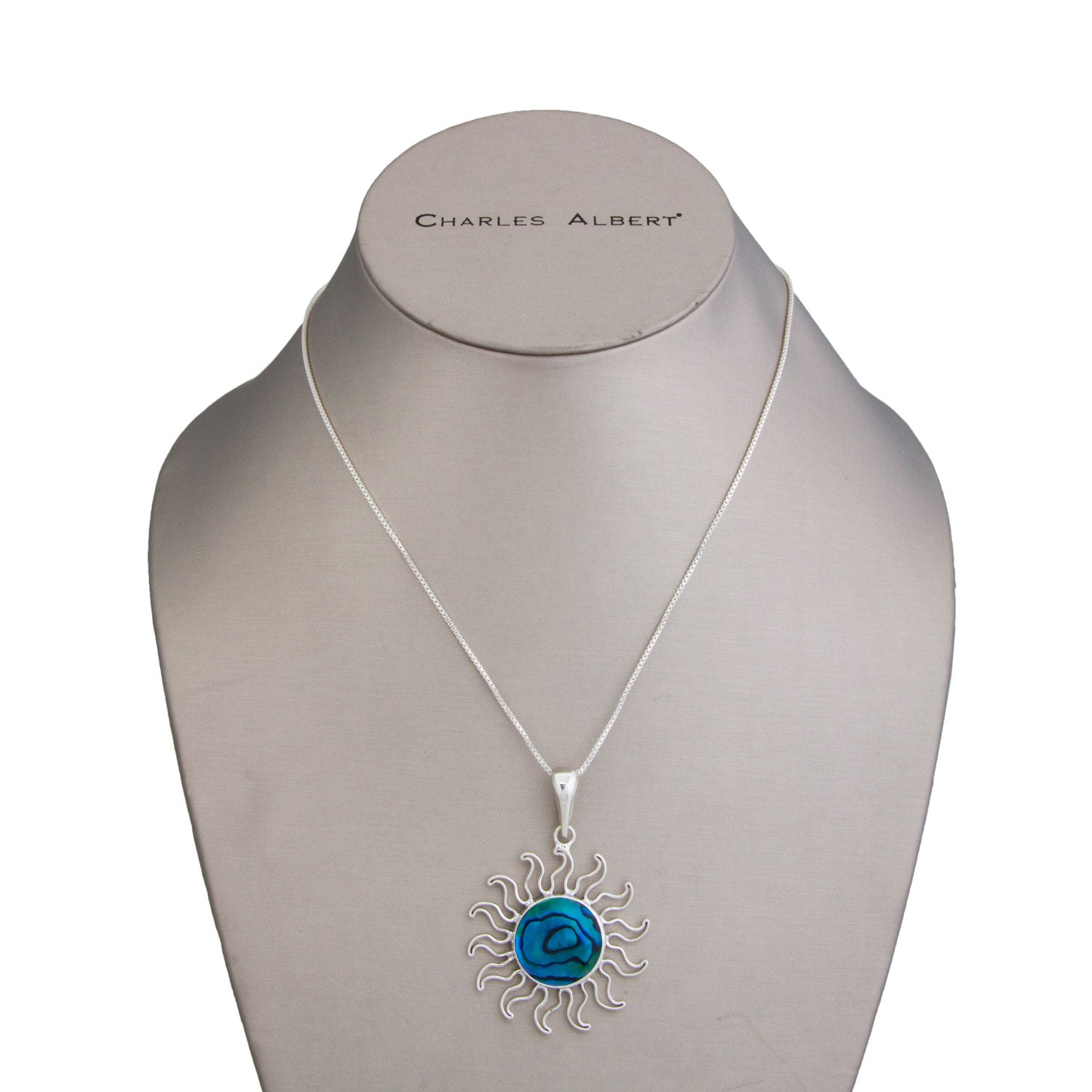 Sterling Silver Blue Abalone Sun Pendant | Charles Albert Jewelry