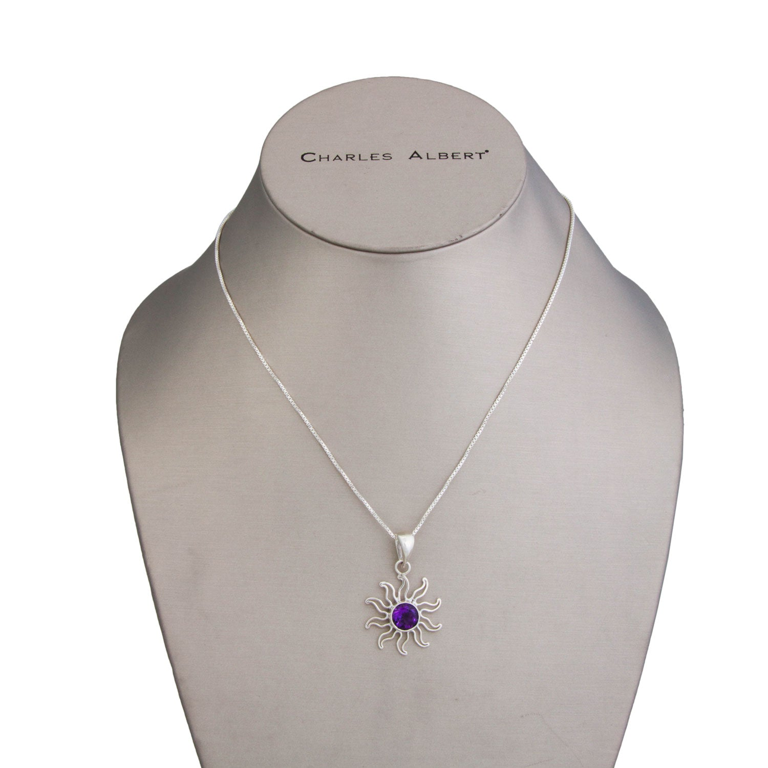 Sterling Silver Amethyst Sun Pendant | Charles Albert Jewelry