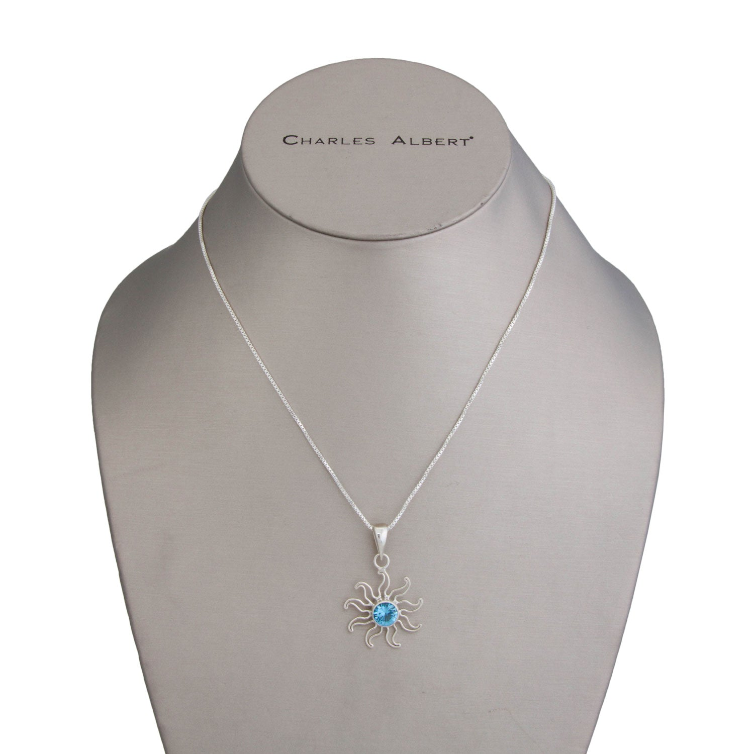 Sterling Silver Blue Topaz Sun Pendant | Charles Albert Jewelry