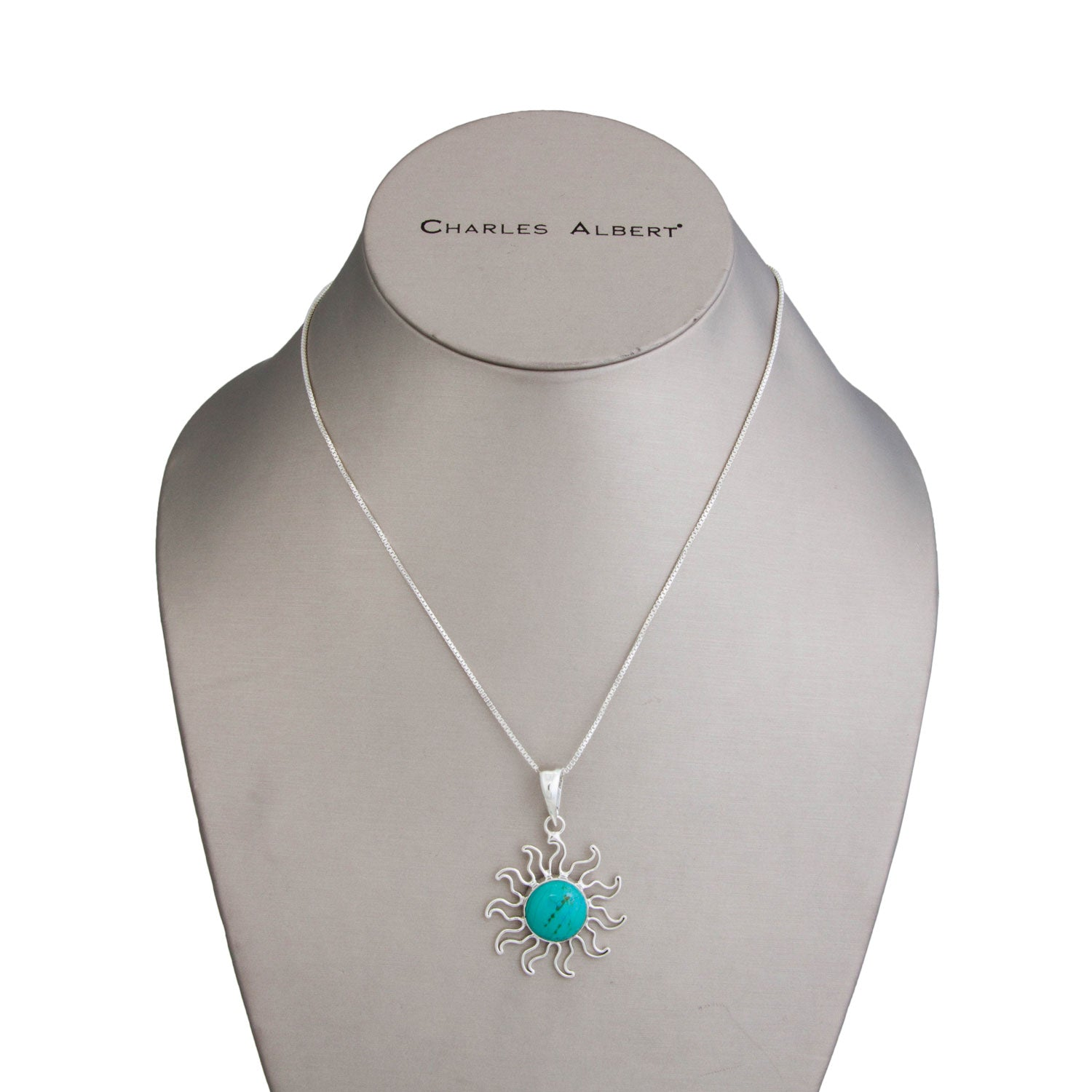 Sterling Silver Turquoise Sun Pendant | Charles Albert Jewelry