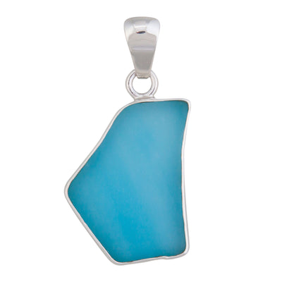 Sterling Silver Aqua Recycled Glass Pendant