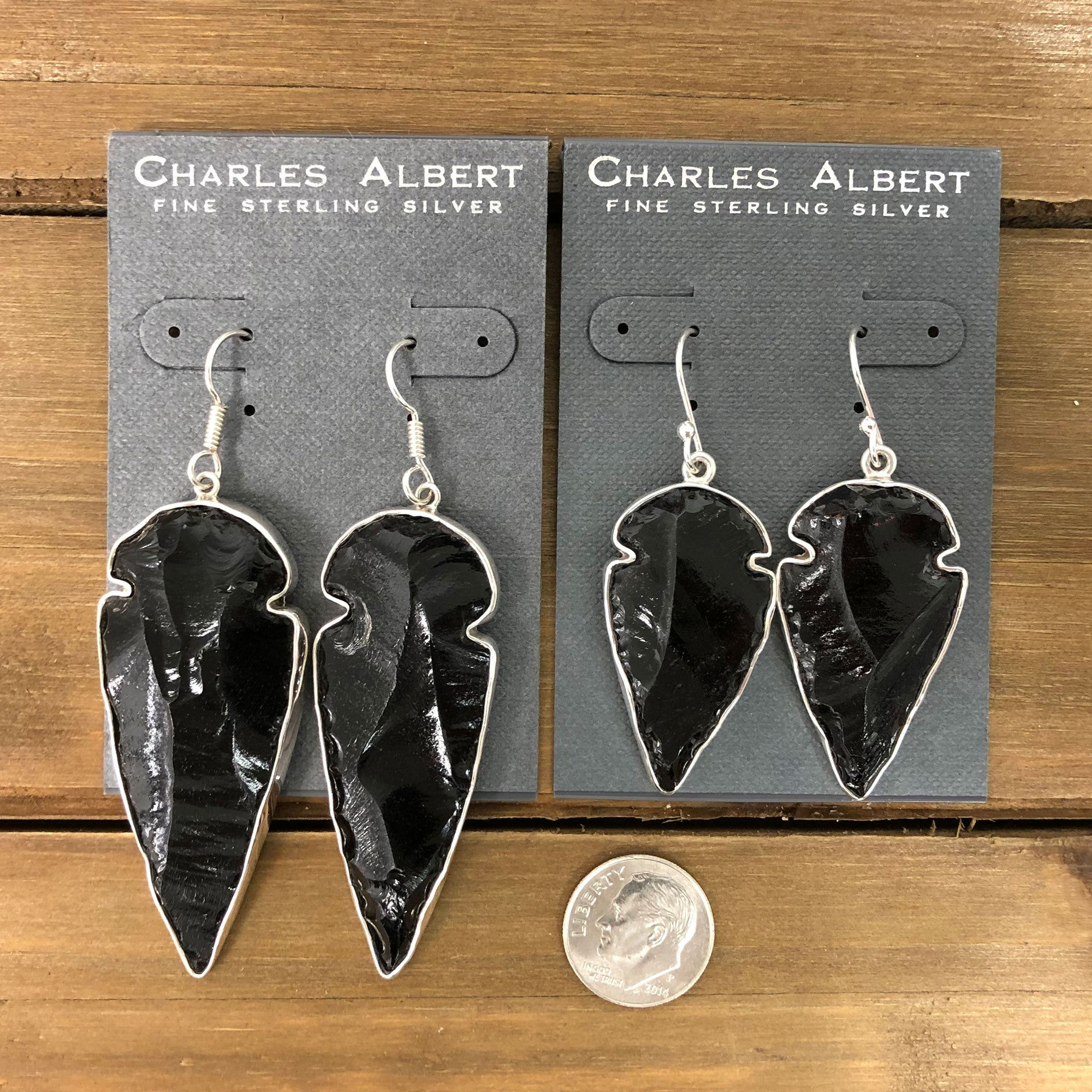 Sterling Silver Obsidian Arrowhead Drop Earrings | Charles Albert Jewelry