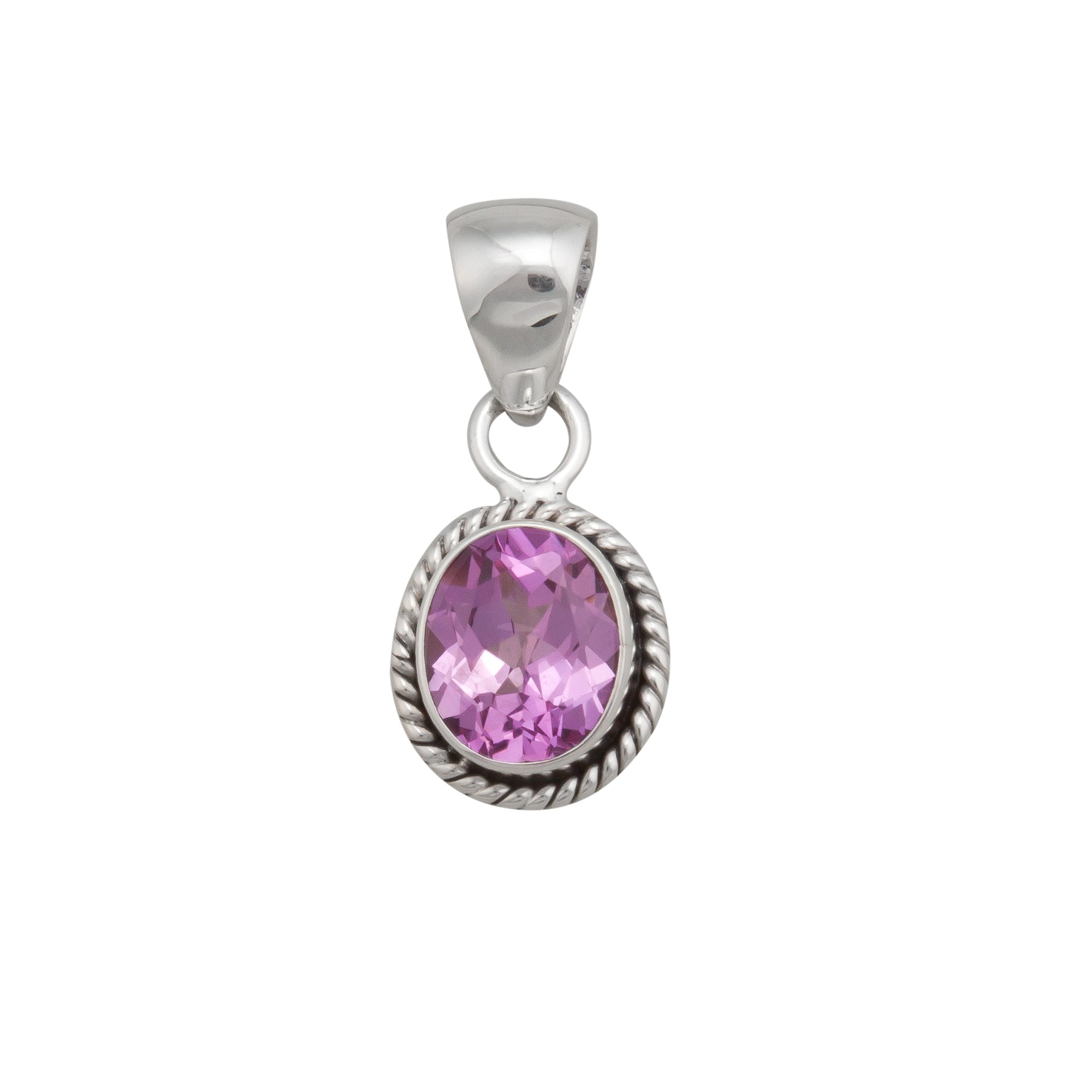 Sterling Silver Lab Created Pink Sapphire Pendant | Charles Albert Jewelry