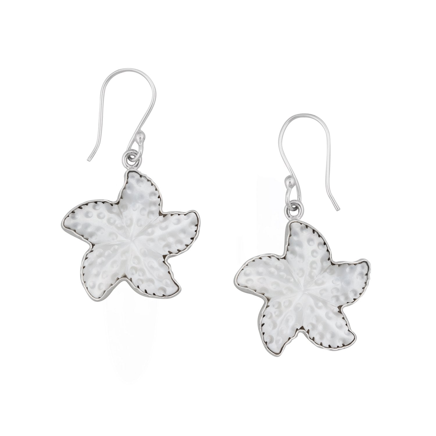 Sterling Silver Mother of Pearl Starfish Drop Earrings