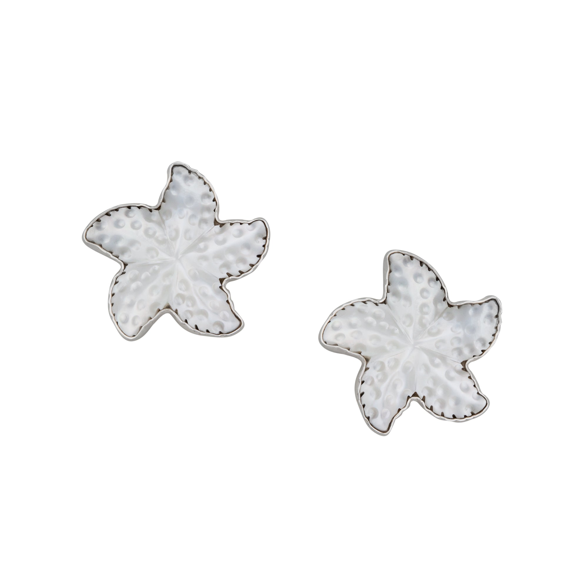 Sterling Silver Mother of Pearl Starfish Post Earrings | Charles Albert Jewelry