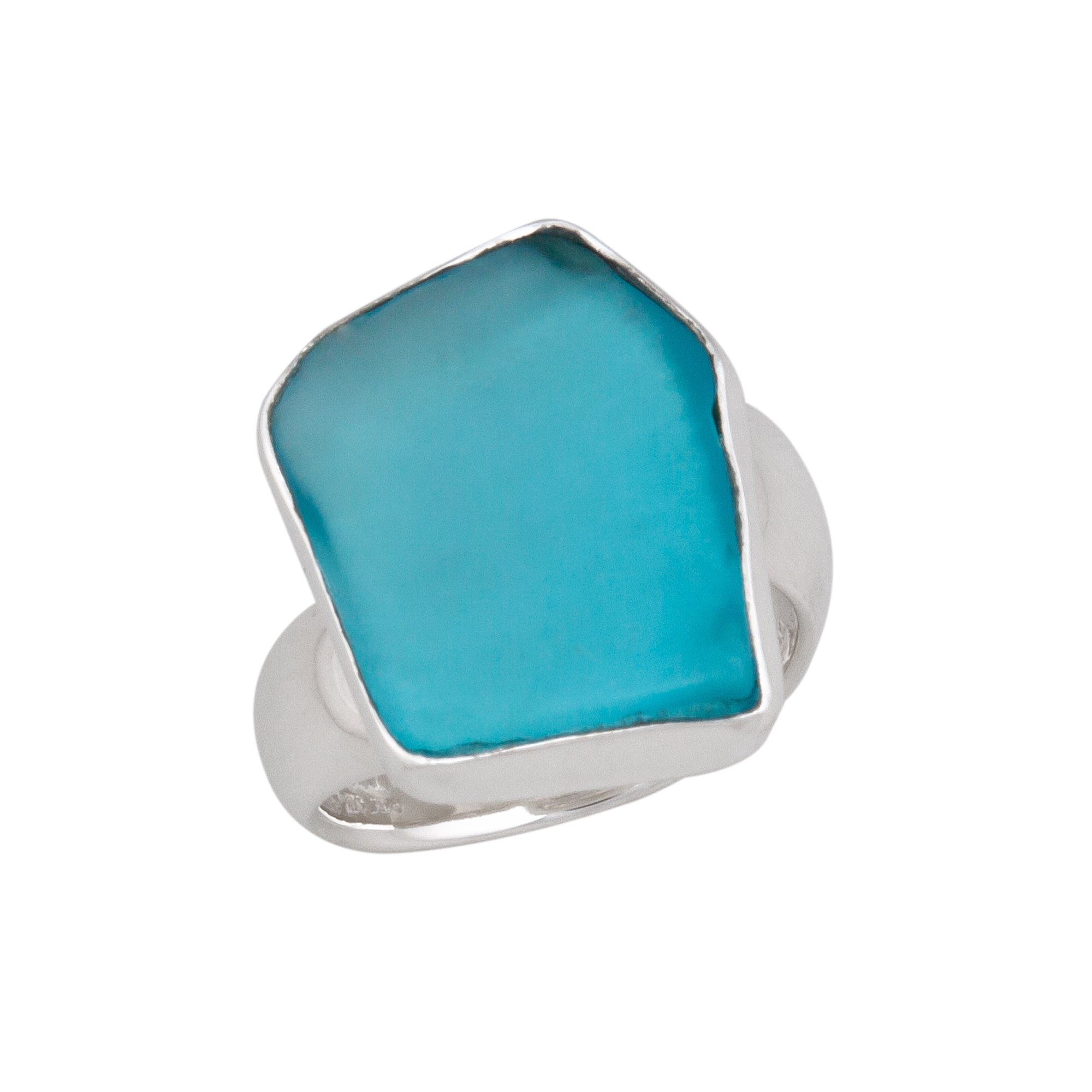 Sterling Silver Aqua Recycled Glass Adjustable Ring | Charles Albert Jewelry