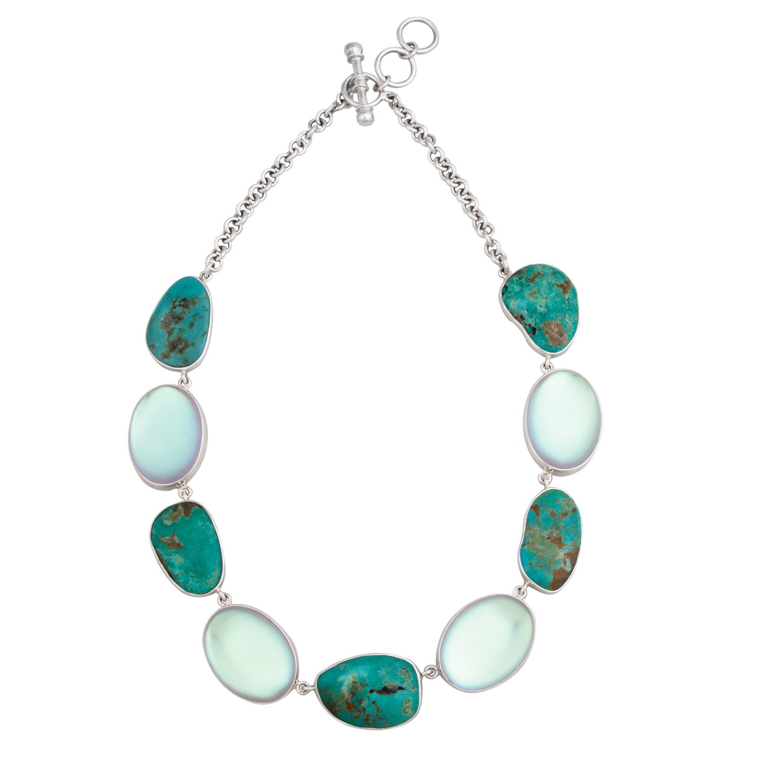 Sterling Silver Luminite & Campo Frio Turquoise Necklace