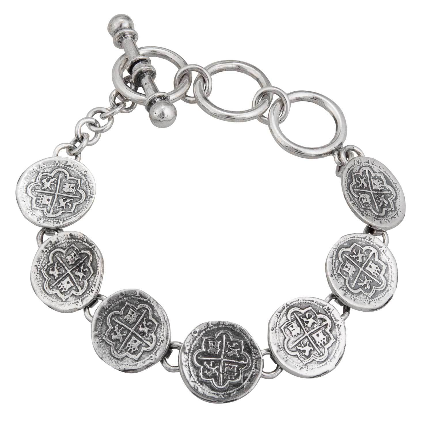 Sterling Silver Replica Spanish Coin Bracelet | Charles Albert Jewelry