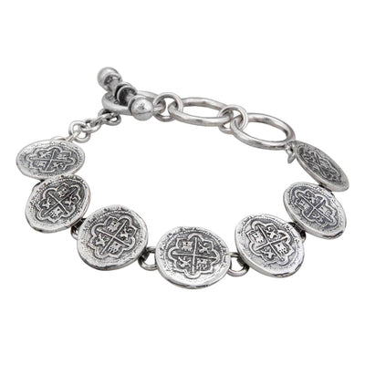 sterling-silver-spanish-coin-bracelet - 2 - Charles Albert Inc