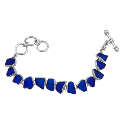 sterling-silver-cobalt-blue-recycled-glass-bracelet - 1 - Charles Albert Inc