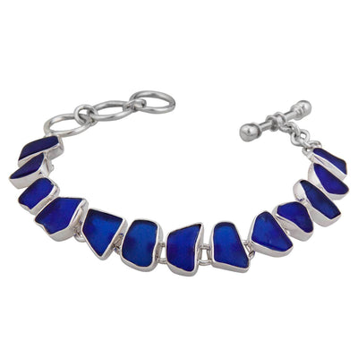 sterling-silver-cobalt-blue-recycled-glass-bracelet - 3 - Charles Albert Inc