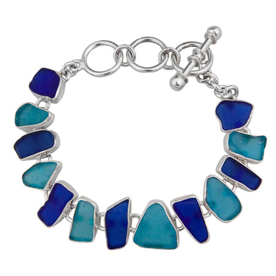 Sterling Silver Aqua and Cobalt Blue Recycle Glass Bracelet