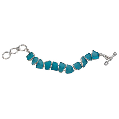 Sterling Silver Aqua Recycle Glass Bracelet