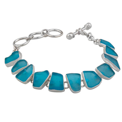 sterling-silver-aqua-recycle-glass-bracelet - 2 - Charles Albert Inc