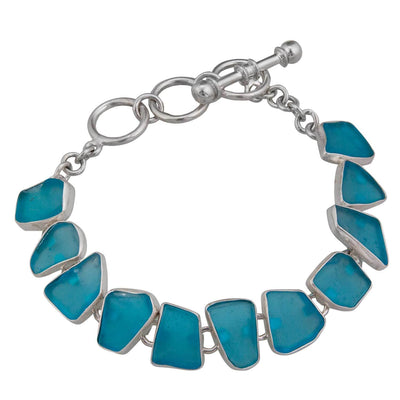 sterling-silver-aqua-recycle-glass-bracelet - 3 - Charles Albert Inc
