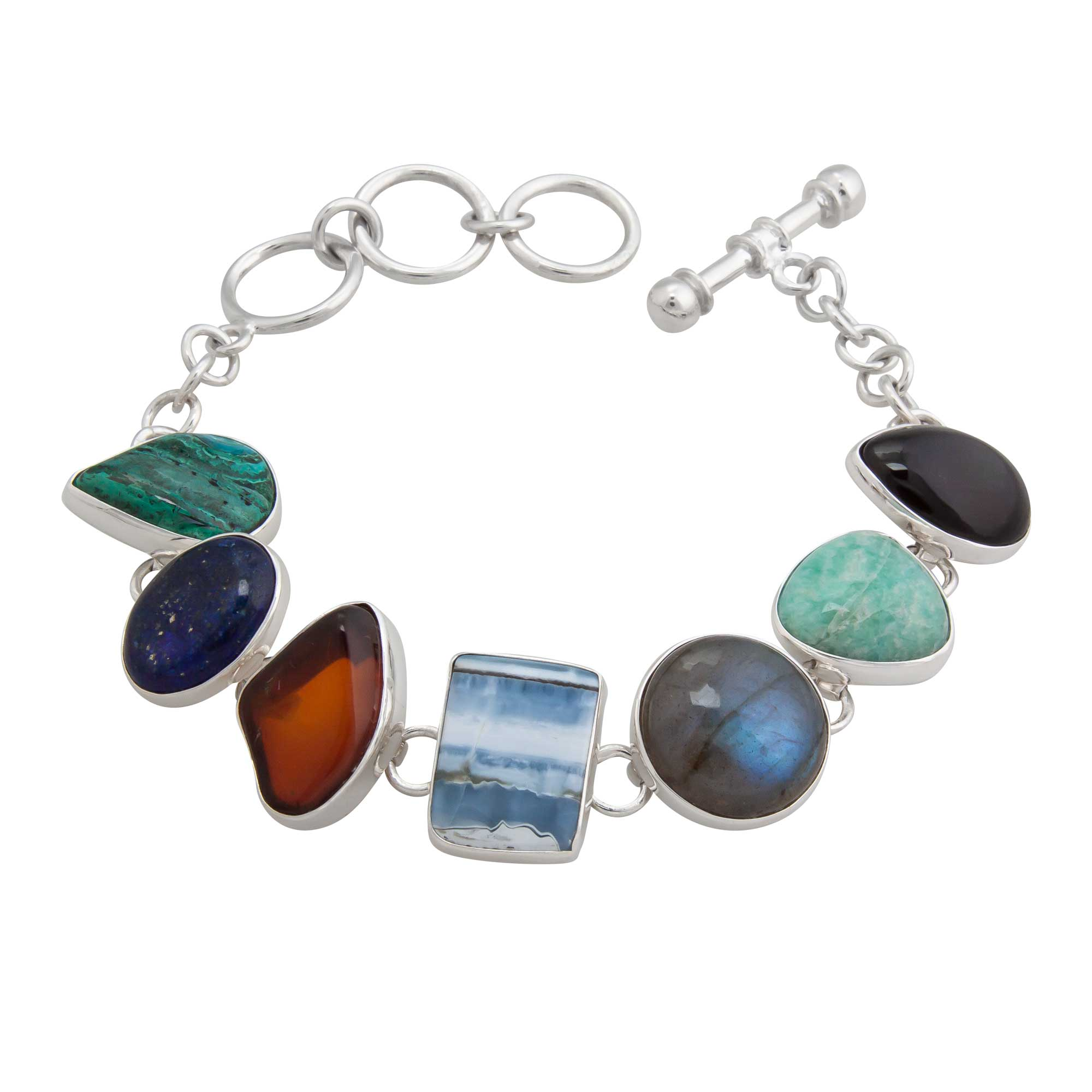 Sterling Silver Natural Multi Stone Bracelet | Charles Albert Jewelry