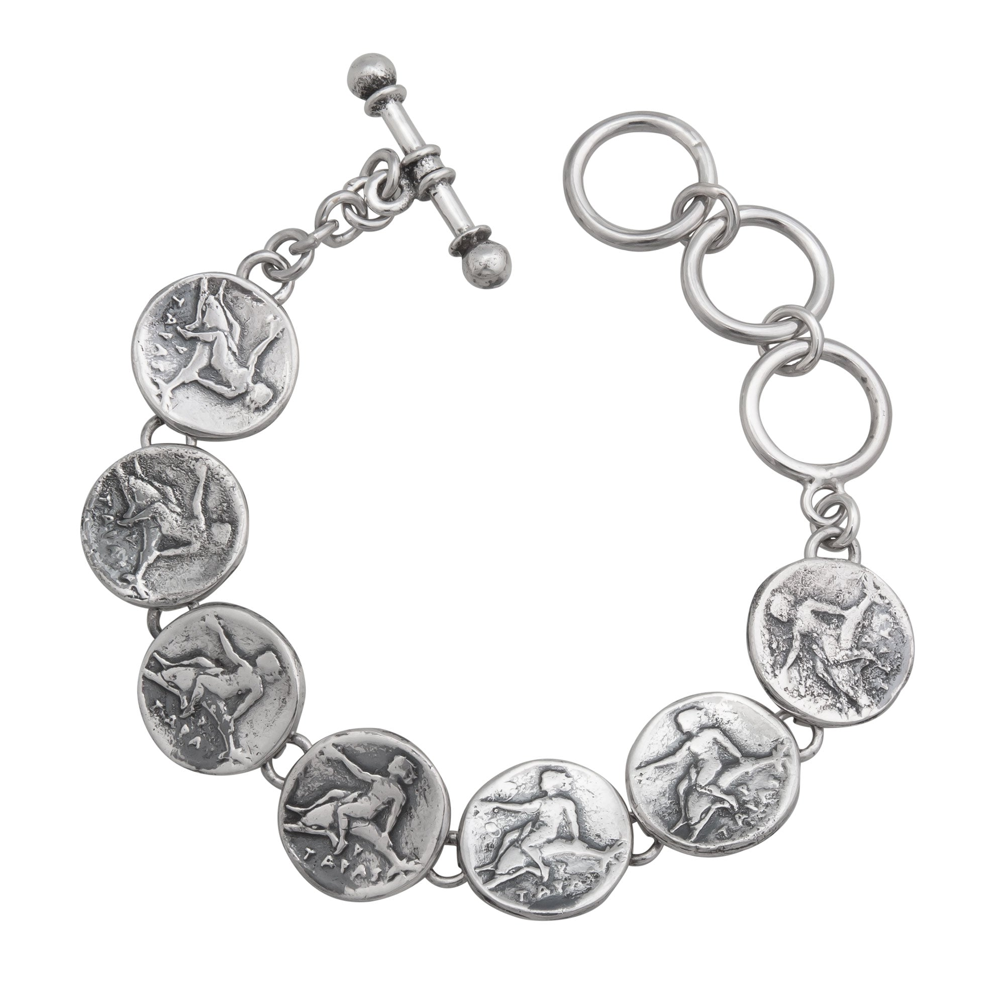 Sterling Silver Replica Boy on Dolphin Coin Bracelet