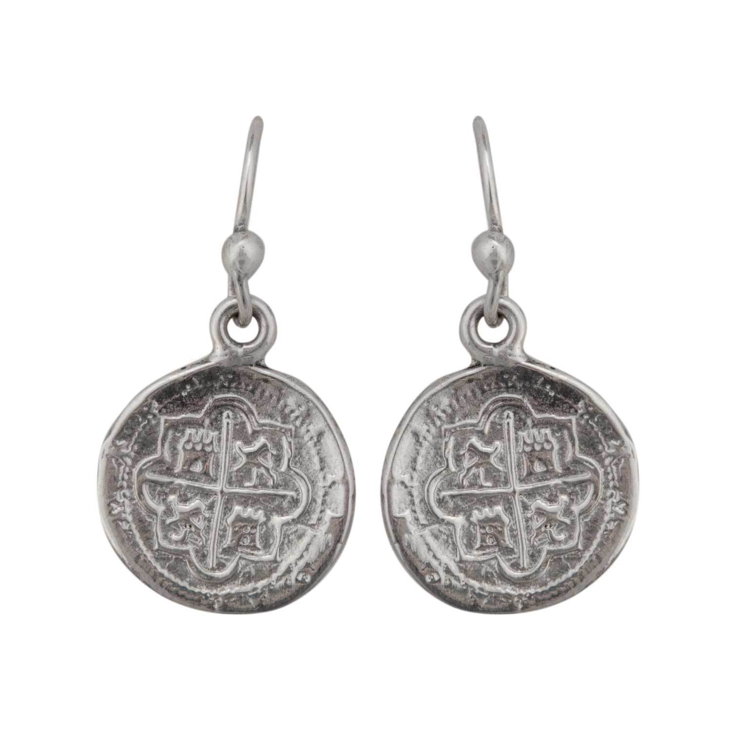 Sterling Silver Replica Spanish Coin Drop Earrings | Charles Albert Jewelry