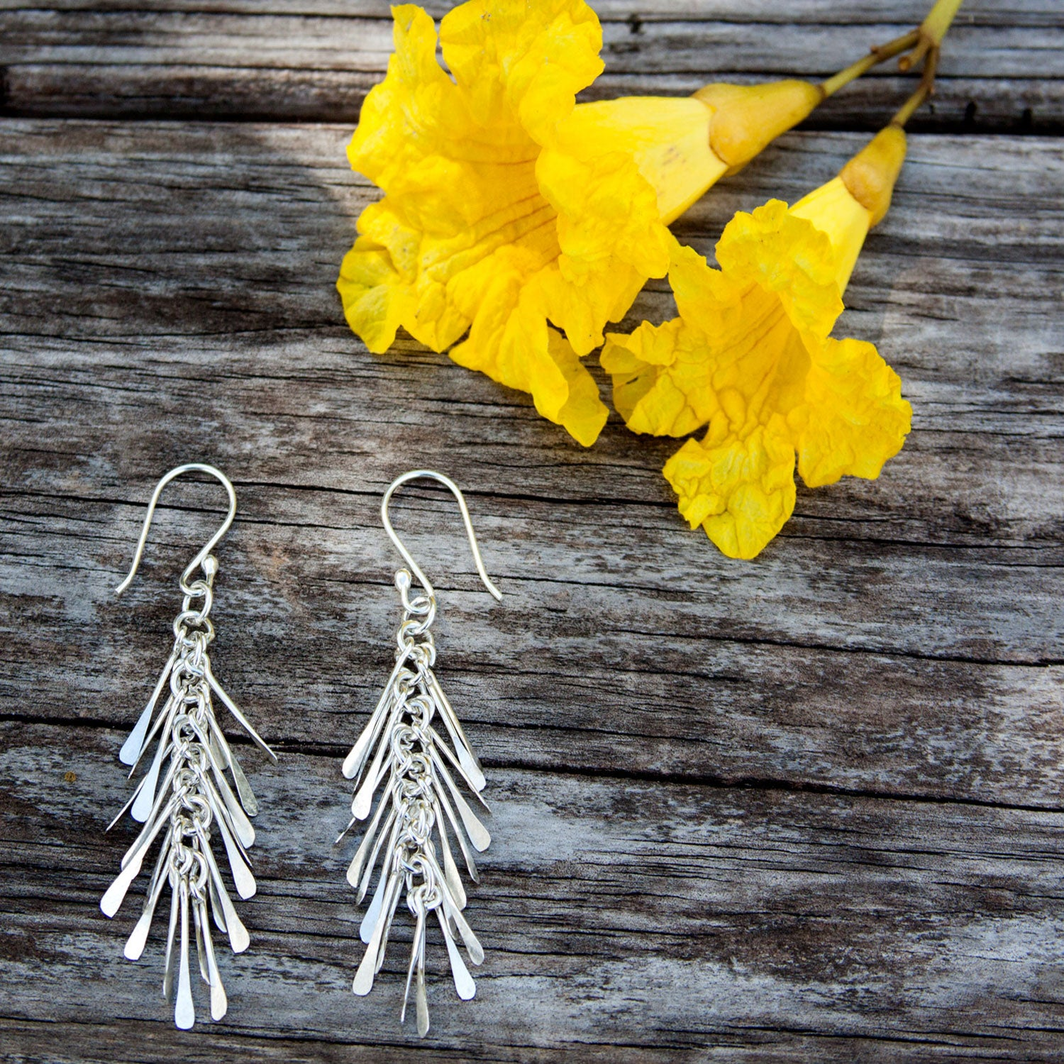 Sterling Silver Fringe Drop Earrings | Charles Albert Jewelry
