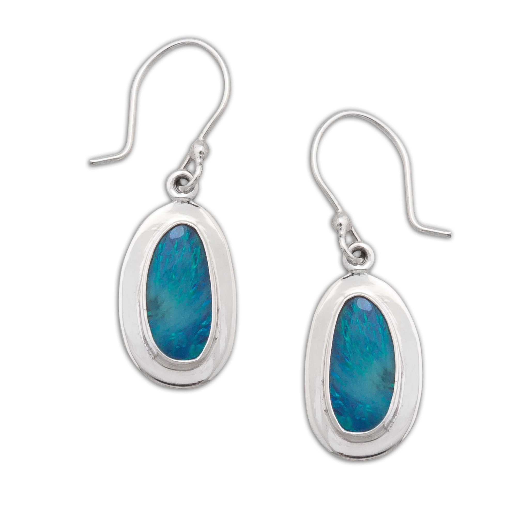 Sterling-Silver-Light-Blue-Opal-Drop-Earrings-with-Detailed-Edge-1-Charles Albert Inc