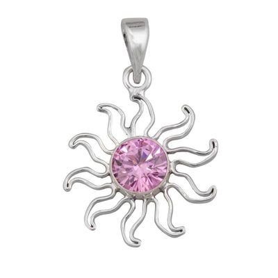 Sterling Silver Pink CZ Sun Pendant